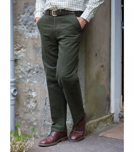 Hoggs of Fife Monarch Moleskin Trousers: Dark Olive